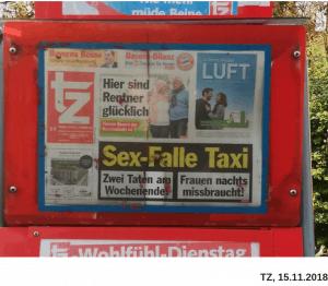"""Titelblatt der TZ München mit Schlagzeile """"Sex-Falle Taxi"""""""